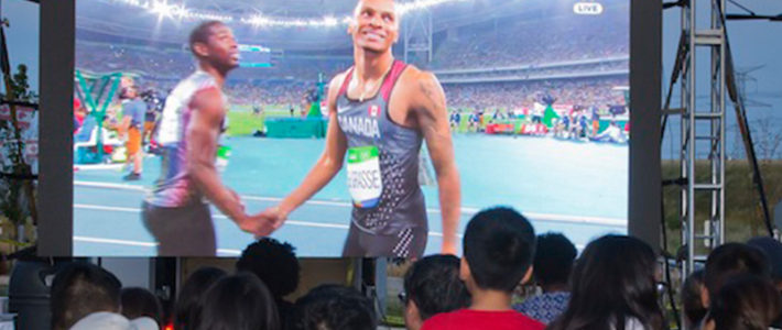 Markham Cheers On Andre De Grasse in 200m final